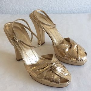 Kate spade gold ankle strap leather sandals